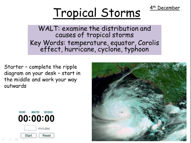 tropical storms - distribution, causes, model and exam question OCR B GCSE GEOGRAPHY