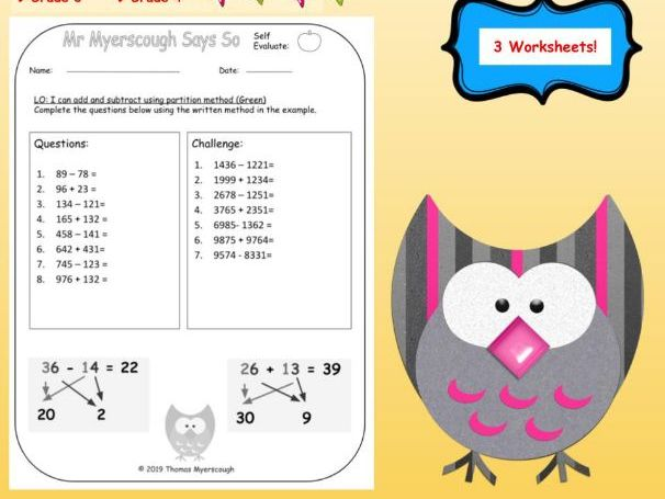 Addition & Subtraction: Using Partitioning