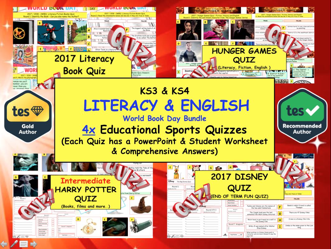 LITERACY & FICTION ENGLISH (DISNEY / HUNGER GAMES / Harry Potter / MR MEN / AUTHORS)  4x Educational Quizzes