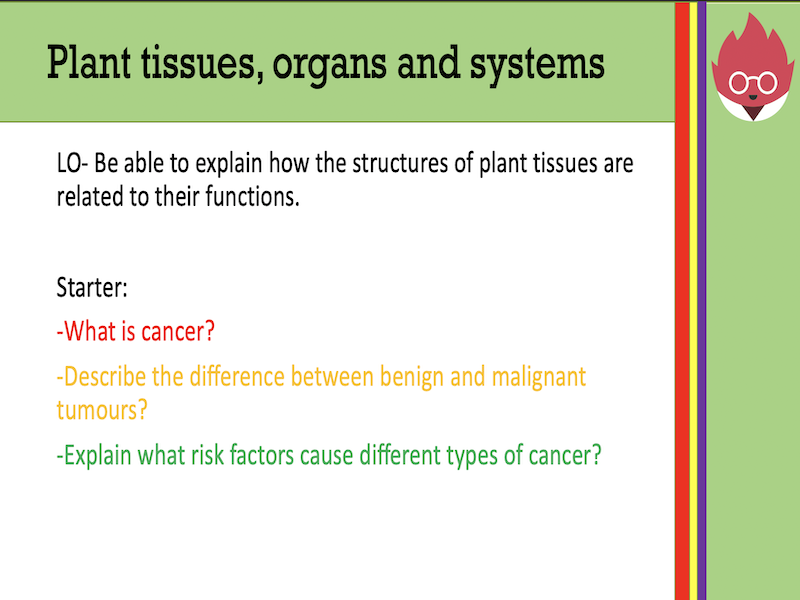 AQA GCSE Biology -Plant tissues, organs and systems