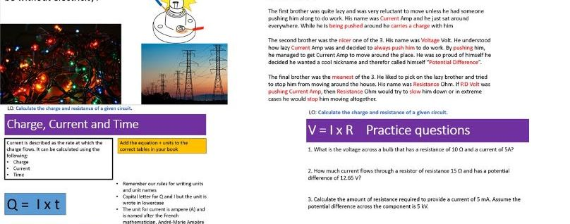 AQA GCSE Physics Topic 2 Electricity Lesson 1 (Current and Resistance)
