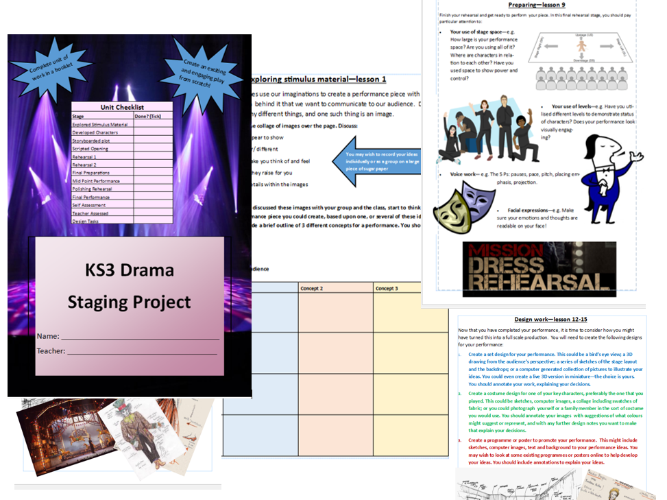 Devising Drama/ devising from a stimulus drama workbook/mini unit