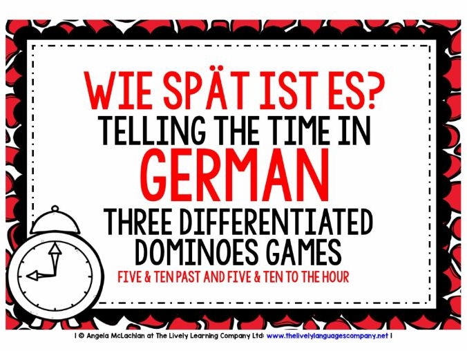 GERMAN TELLING THE TIME (2) - THREE DIFFERENTIATED DOMINOES GAMES
