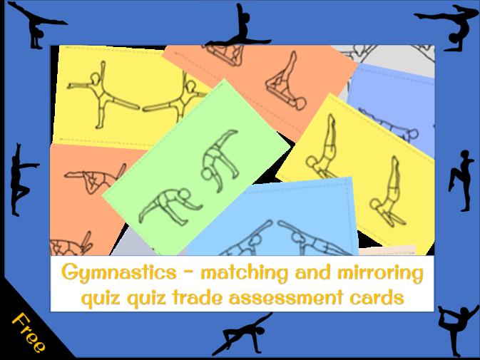 Matching and mirroring gymnastics plenary - quiz quiz trade cards