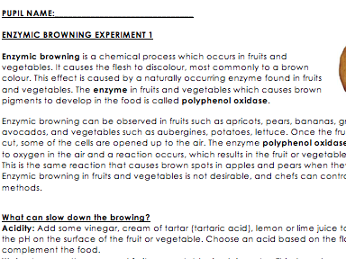Enzymic Browning Experiment Handout - GCSE Food & Nutrition or Science