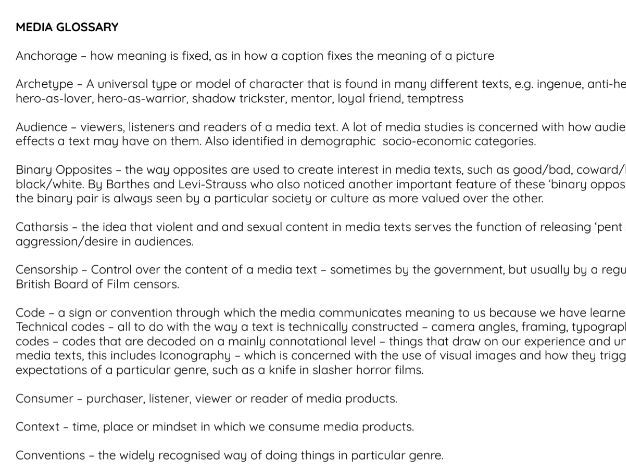 Introduction Media Glossary sheet and Intertextuality explained handout