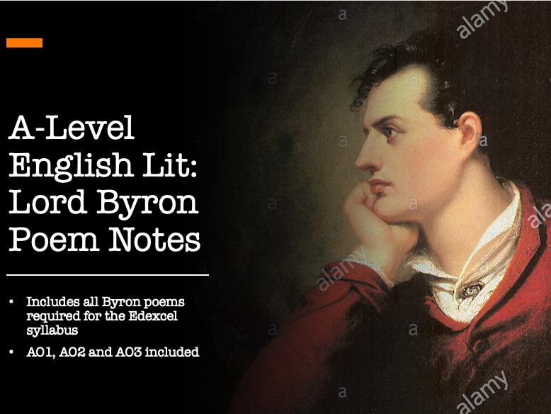 A Level Edexcel English Literature 'The Romantics' Lord Byron Poems Notes