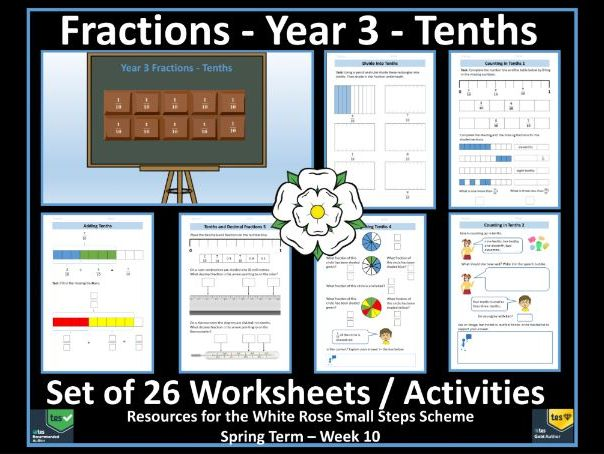 Fractions: Year 3 Fractions / Tenths - 26 Worksheets / Activities For White Rose Maths' Scheme