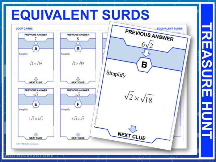Equivalent Surds (Treasure Hunt)