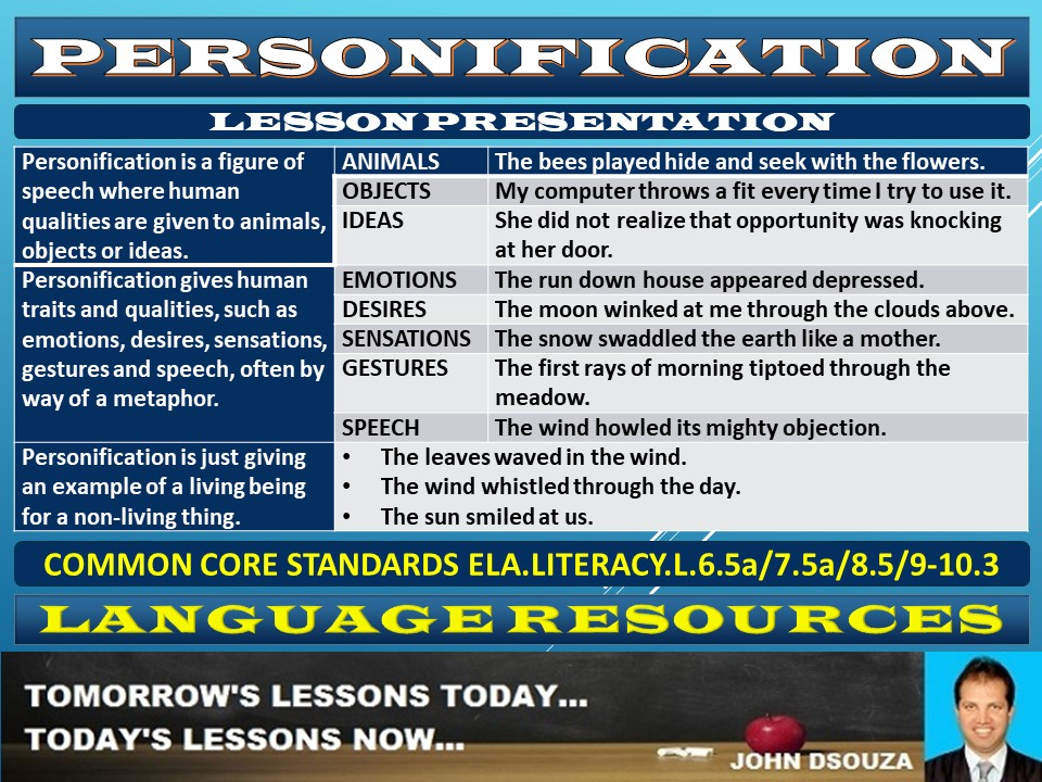 PERSONIFICATION LESSON PRESENTATION