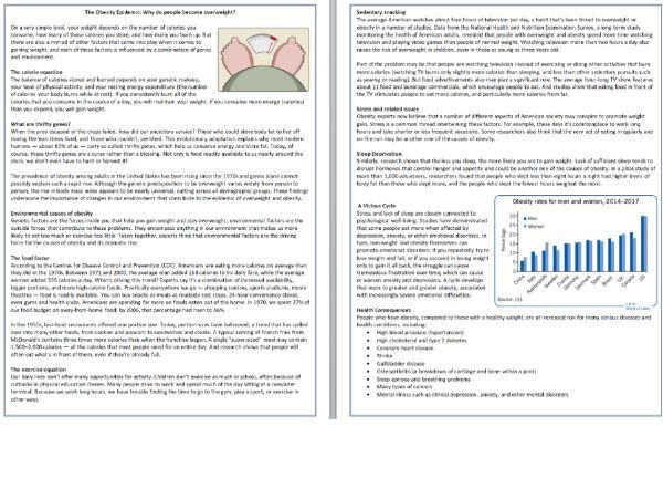 The Obesity Epidemic - Reading Comprehension / Informational Text