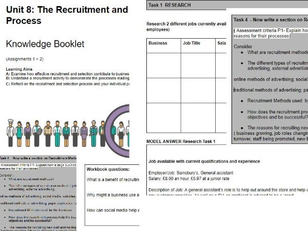 BTEC LEVEL 3 Unit 8 The Recruitment and Selection Process- STUDENT GUIDE BOOKLET- ASSIGNMENTS 1+2