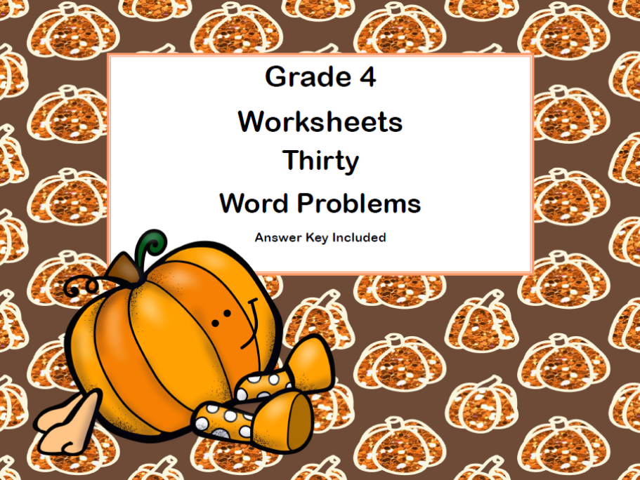 Word Problems - Grade 4-Worksheets-Fall Theme