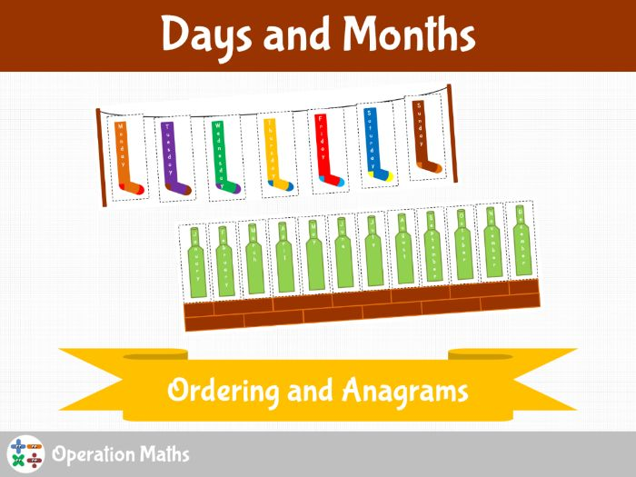 Days and Months - Ordering and Anagrams