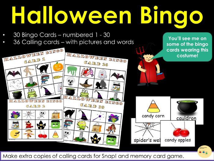 Halloween Bingo! Snap! and Memory Card Games - 30 Bingo Cards and 36 Calling Cards - US Version