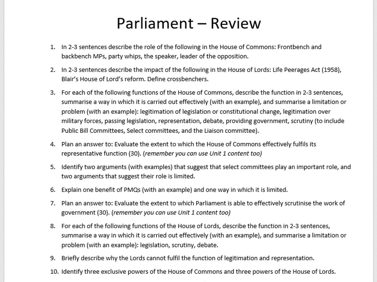 Unit 2 Politics Edexcel - Revision questions