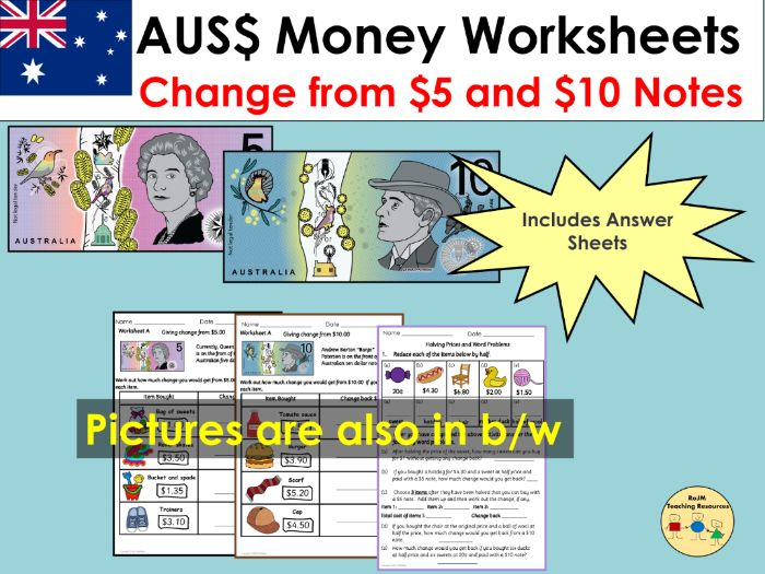 Australian Money Giving Change Worksheets and Word Problems