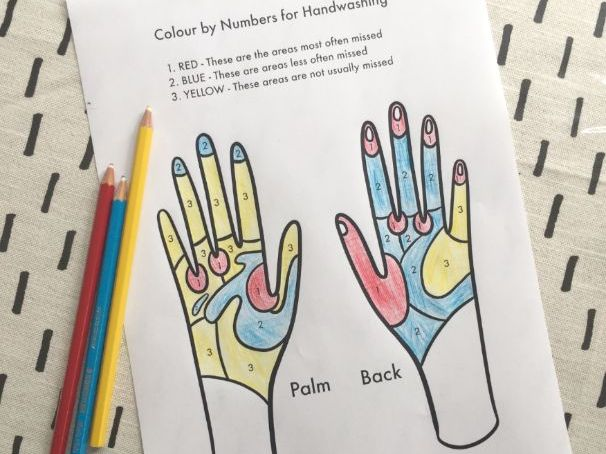 Hand Washing Colour By Numbers Printable
