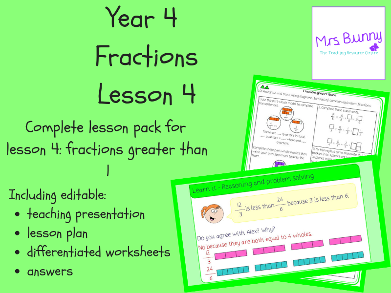 4. Fractions: fractions greater than 1 lesson pack (Y4)