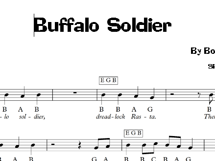 Reggae Buffalo Soldier Bob Marley Keyboard Sheet Music By