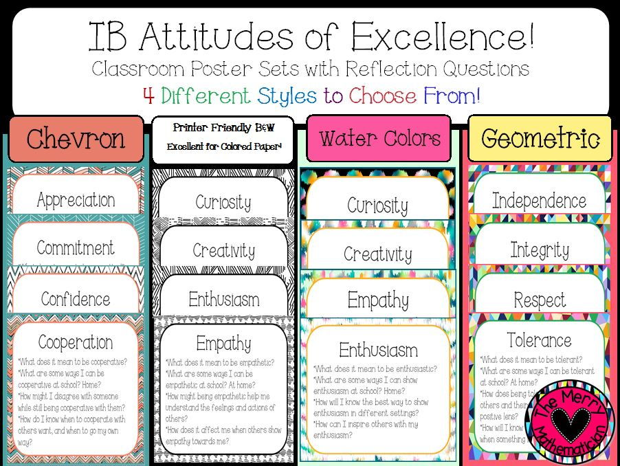 Attitudes of Excellence Posters with Reflection Questions