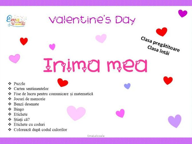 Valentine's Day Activities in Romanian Language for Kindergarten and First Grade