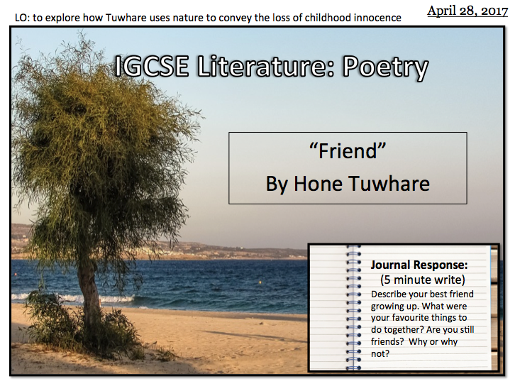 Friend by Hone Tuwhare (IGCSE Literature)
