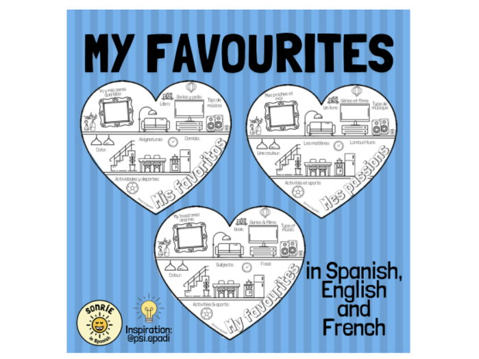 Mis favoritos. Mes passions. My favourites. Spanish/French/English hobbies & interests vocab
