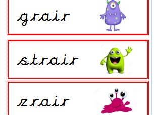 Phase 3 real and alien phonics screening flashcards complete set