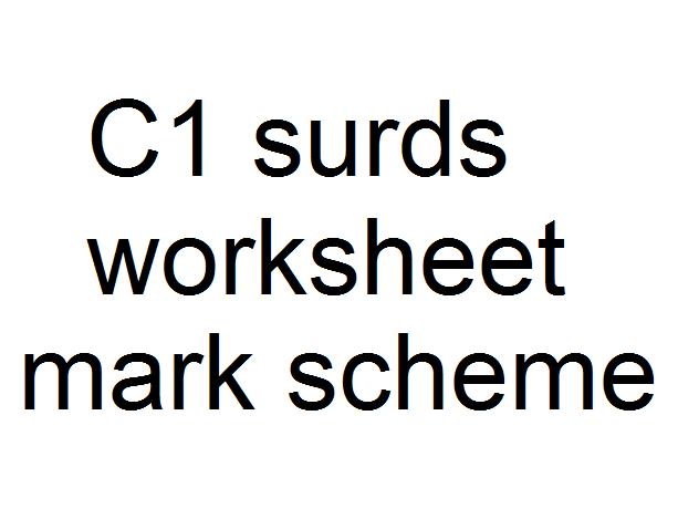 C1 surds mark scheme