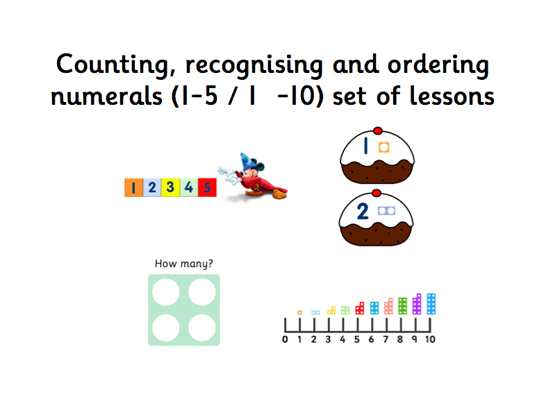 Counting, recognising and ordering numerals (1-5 / 1-10) set of lessons EYFS