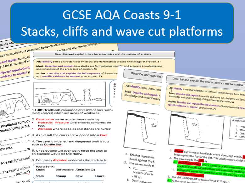 GCSE 9-1  Coasts: The Formation of cliffs, wave cut platforms and stacks.