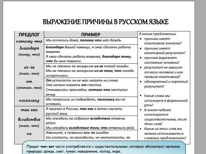 Expressing reason in Russian (Handout and exercises)