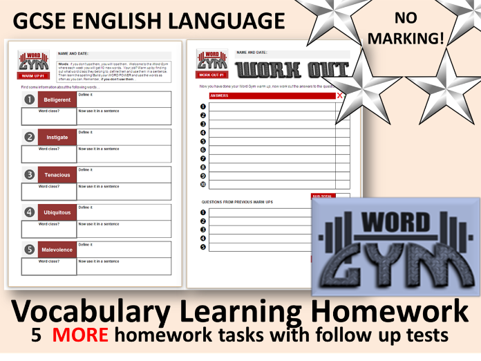 GCSE English: 5 MORE Vocabulary Learning Homework Tasks & Tests (Low Stakes, No Marking!)