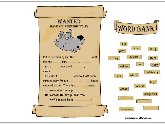 The Three Little Pigs - Adjectives - Wanted Poster