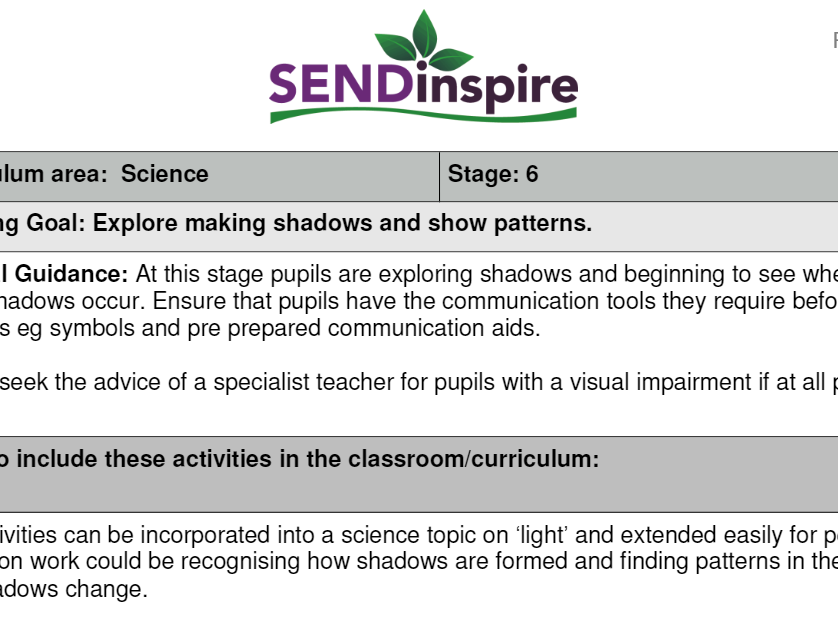 SEND Science exploring shadows and patterns