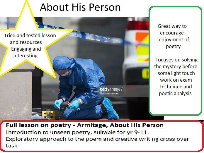 Unseen poetry full lesson (creative writing cross over) - About His Person (Armitage)