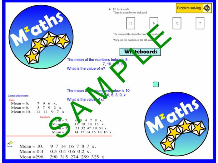 Finding missing values given the Mean/ Problem Solving/Revision
