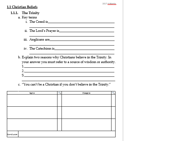 The Future of the Church - Revision work sheet or plenary task- EDEXCEL GCSE RS B Christianity
