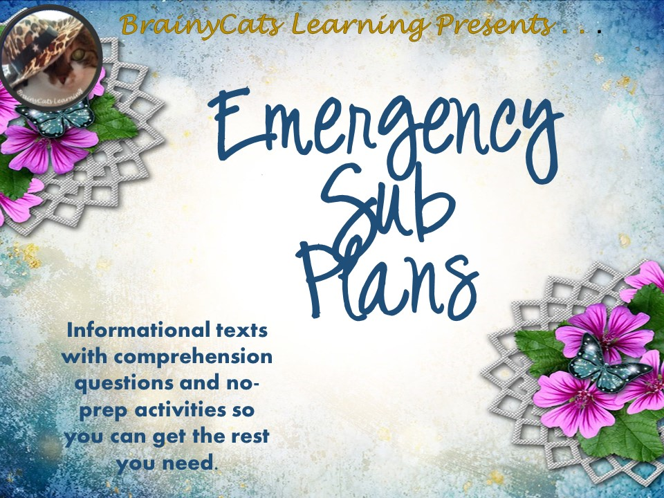 Middle Grades Emergency Sub Plans:  No-Prep Informational Texts, Comprehension Questions, Activities