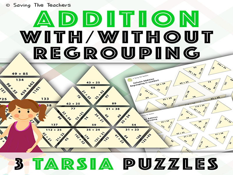 Column Addition With And Without ReGrouping Tarsia Puzzles