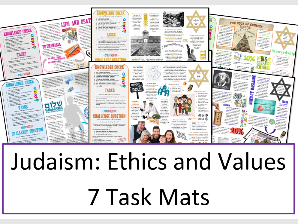 Judaism Task Mat Bundle: Ethics and Values