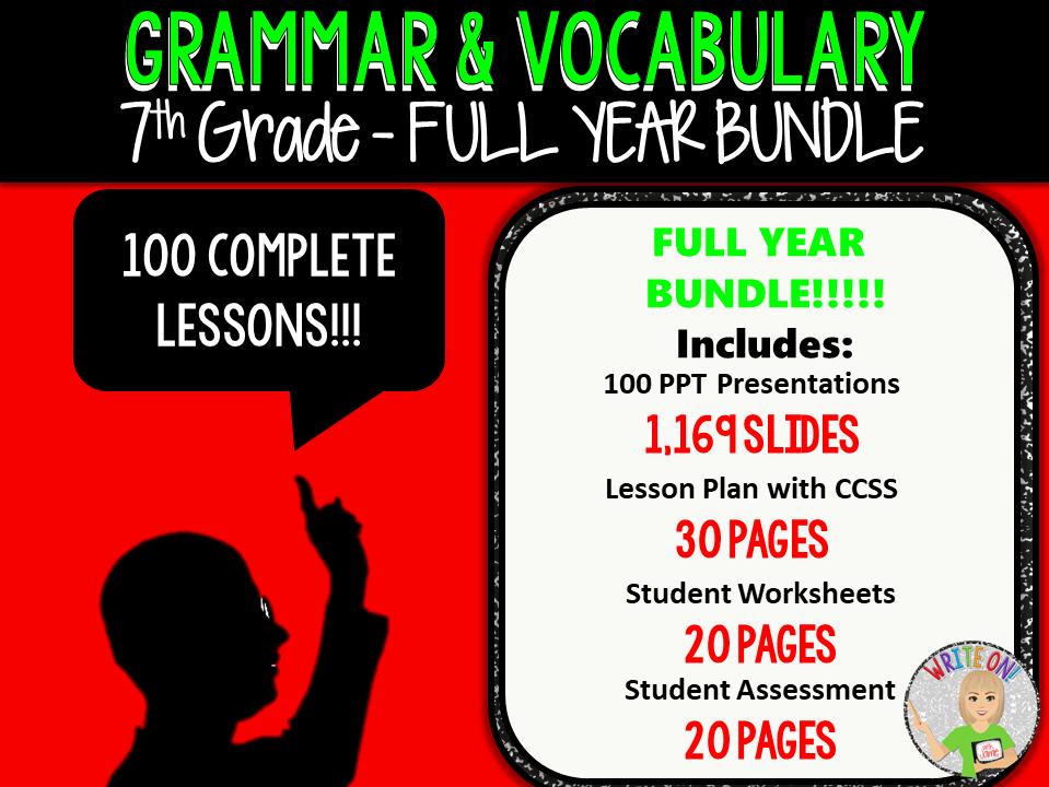 GRAMMAR & VOCABULARY PROGRAM - 7th Grade - Standards Based – FULL YEAR!!!!!!