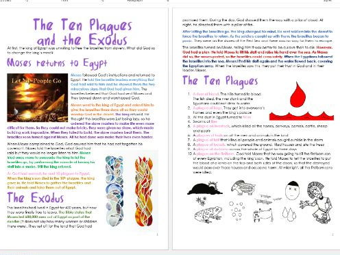 Old Testament Stories: Ten Plagues and Exodus: Differentiated Information and Activities