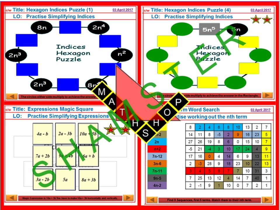 Indices Fun Maths Activities Bundle