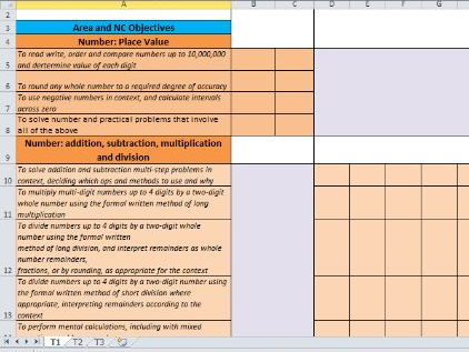Y1-6 Maths Curriculum Coverage Excel Document