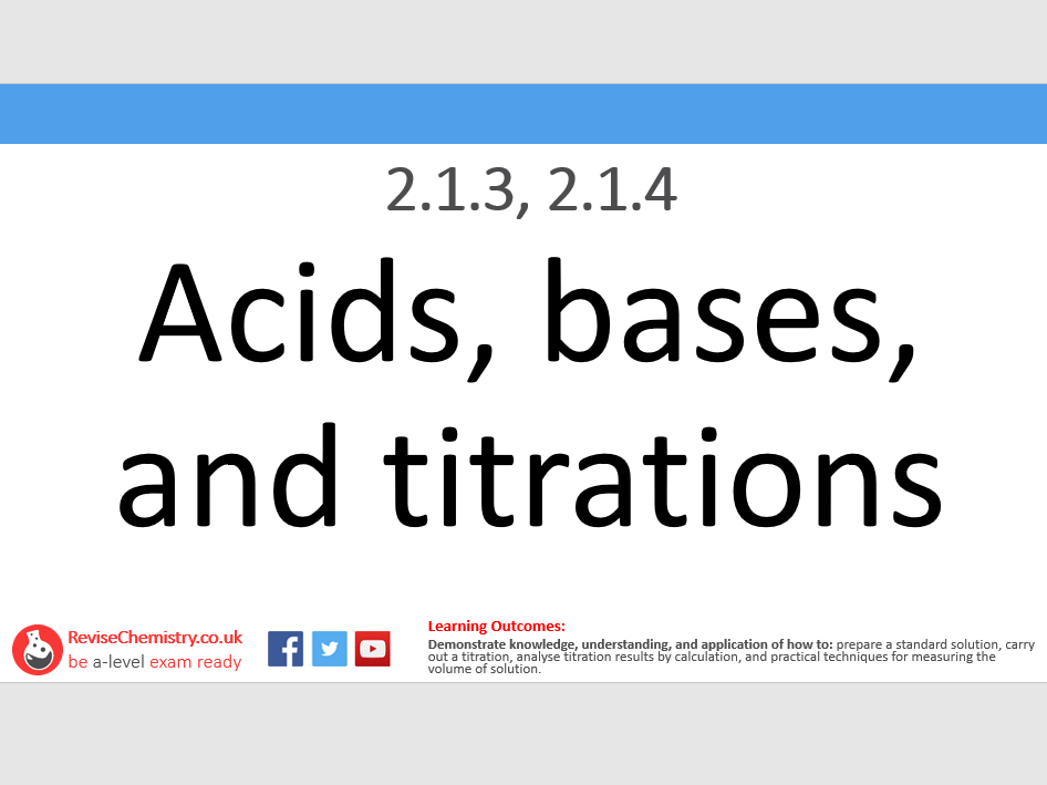 OCR A 2.1.3, 2.1.4 - Acids, bases, and titrations