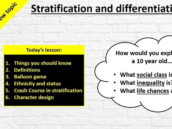 GCSE Sociology (Eduqas / WJEC) - Stratification and Differentiation: Introductory Lesson