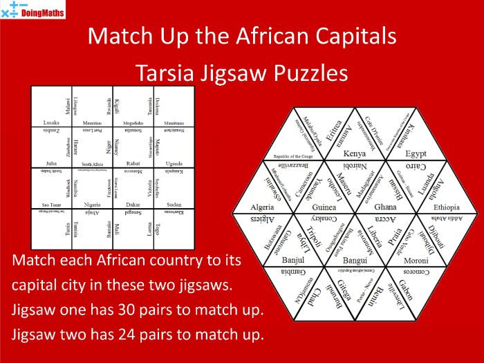 African Capital Cities Match-up Jigsaw Puzzles