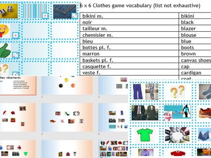 French 'clothes' dice game to describe pictures and practise speaking